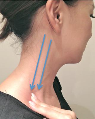 首筋のリンパを上から下へすりおろします(左右10回ずつ)