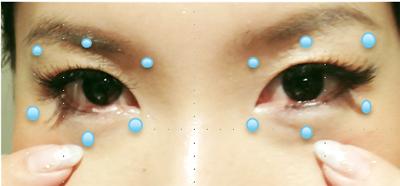 中指のはらで目の下、眉の下、こめかみ、親指で眉の下のポイントをプッシュします