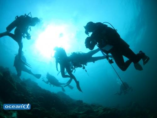 セブ島のダイバーのシルエット(撮影:越智隆治)