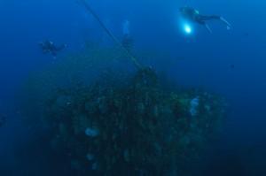 水深20~30メートルの海底に巨大沈船が眠る国内屈指の沈船ポイント