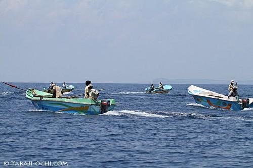 イルカの群れの前にあつまり、糸を垂らす漁師たちの船