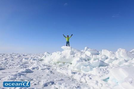 ダイビングの合間に漂流ウオーキング。360度、白銀の大パノラマ体験