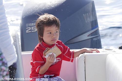 ジンベエザメと泳ぐ3歳の空君(撮影:越智隆治)
