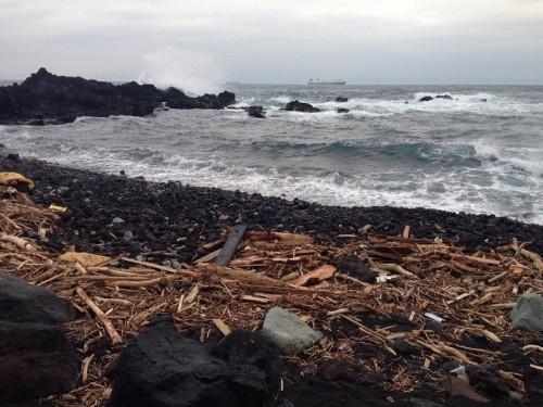 台風の被害を受けた伊豆大島