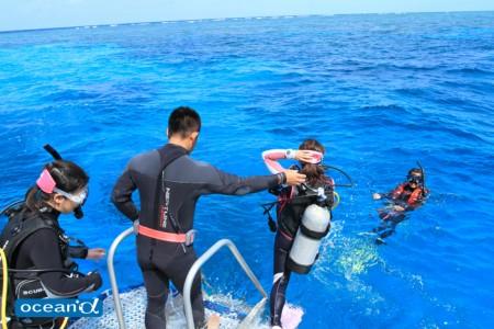 オーストラリアでのボートダイビング、ジャイアントストライドエントリー(撮影:越智隆治)