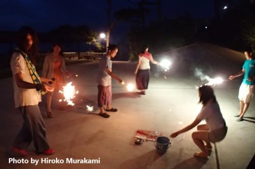 御蔵島での花火