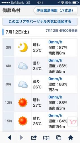 御蔵島の天気予報