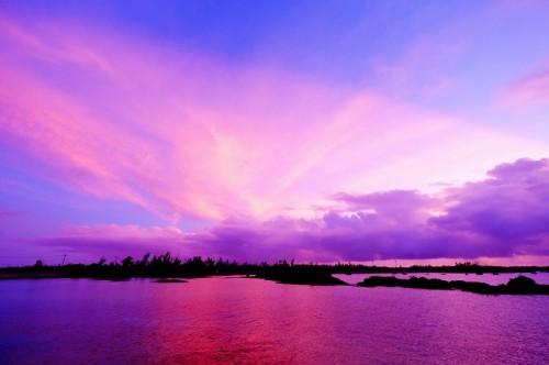 伊良部島、佐和田の浜の夕焼け、夕暮れ(撮影:むらいさち)