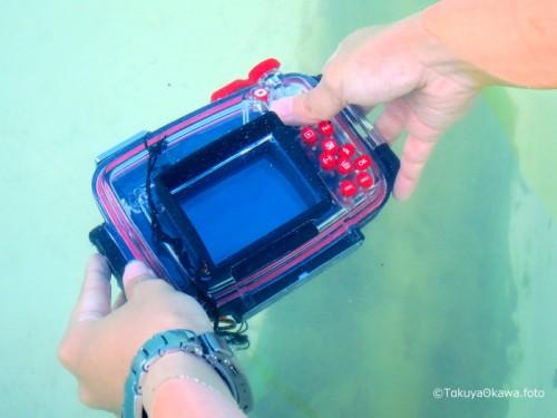 水中撮影のカメラ水没チェック(撮影:大川拓哉)