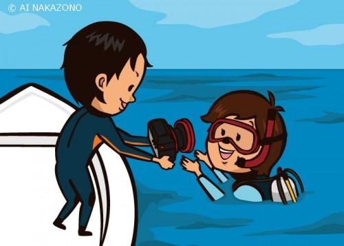 水中撮影のカメラを持ったボートエントリー(提供:大川拓哉)