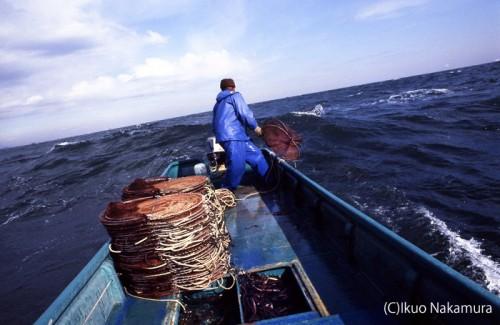 危険な海域で漁をするアナゴの森田(提供:中村征夫)