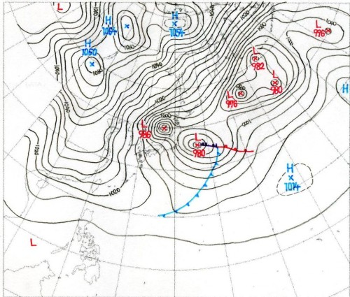 wiki掲載の天気図(提供:大間哲)