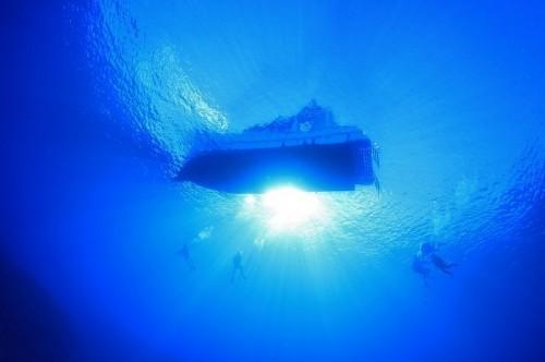 ダイビング中に海中から見上げるダイビングボート