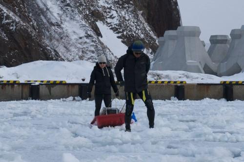 流氷の上でソリをつかって荷物を運ぶ