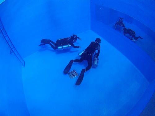 プールでサイドマウントダイビングのトレーニング