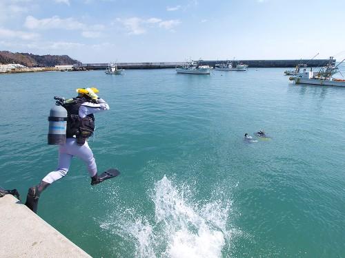 足をそろえて、フィンの裏面で着水するフィートトゥギャザーエントリー。着水の衝撃を受け止める、高い位置からのエントリーに向いている