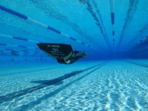 (2)ダイナミックウィズフィン(平行に泳ぐ距離を競うプール競技)