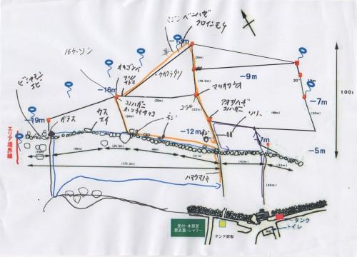 今回潜った、3本のルートと、撮影した被写体を記入した海中マップ