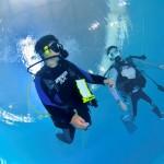 ダイビング用プールも完備する白崎海洋公園は、スキルアップや講習に最適な環境だ