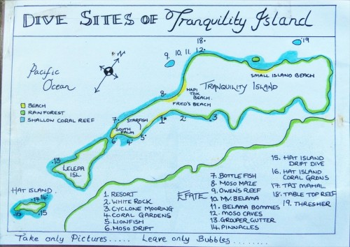 地図右上の島がモソ島で、1番がトランクリティアイランドリゾート。13番が「Grouper gutter」。下の大きい島が首都のあるエファテ島