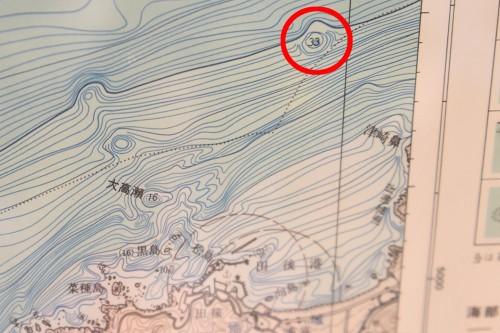赤い丸で囲った絶海にポツリと存在する根が「イトグリ」
