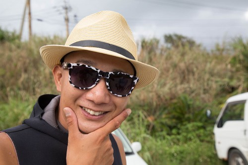 オーナーの古田さんことちょっくん。これはイシガキカエルウオがいるときのサインだそう