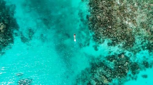 サイパン沖に浮かぶマニャガハ島でスノーケリング。まるで空に浮かんでいるかのような透明度
