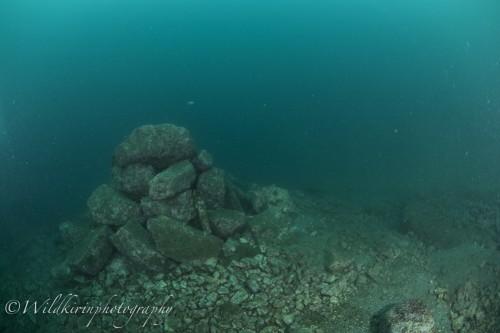 獅子浜の人工的な石積み(撮影:関戸紀倫)