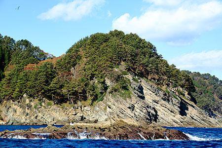 前期白亜紀、1億1千万年前の地層がむき出しになり海中まで没している宮古層群。田野畑のダイビングポイントの多くがこのダイナミックな地層地形を楽しむことができる