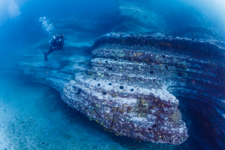 海中版「ザ・ウェーブ」と呼ぶにふさわしい海中景観。水深約10mに、このようなおもしろい景観が広がっている