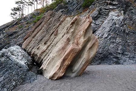 津波で30m近く動かされた巨石