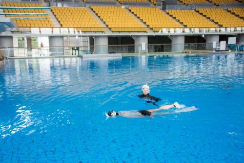 東京辰巳国際水泳場は、数多くの大会が開催されている水泳場。ダイビングプールもこのように広々快適!