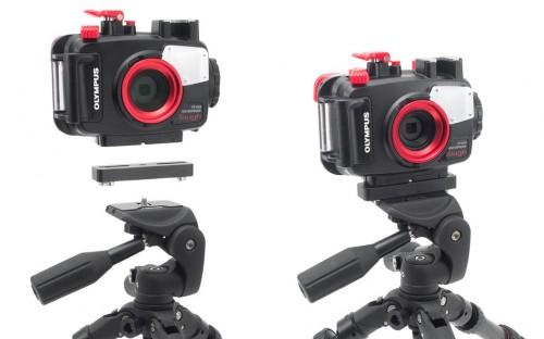 付属のハウジングアダプター「雲台接続ベース」を使って、ガタつきや緩みなくカメラハウジングを三脚に固定。