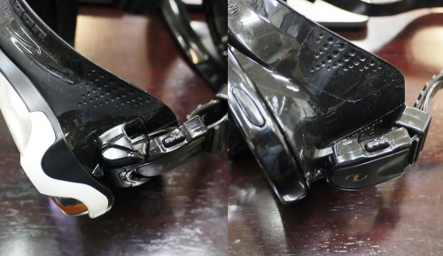ストラップのついている位置の比較(左がパラゴン、右が従来製品)