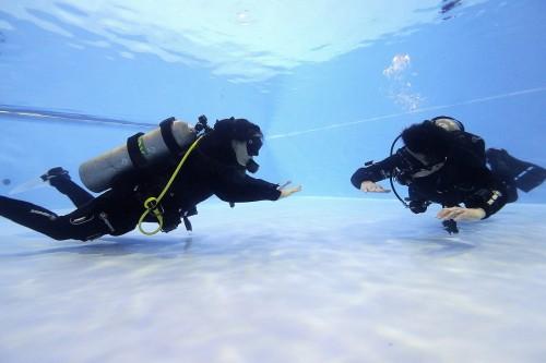 水中では、最も効率よく泳ぐことができる水平姿勢が基本。そのため、器材のウエイトバランスやフィッチングは重要。この感覚をつかむだけでもダイビング感が変わるかも!?