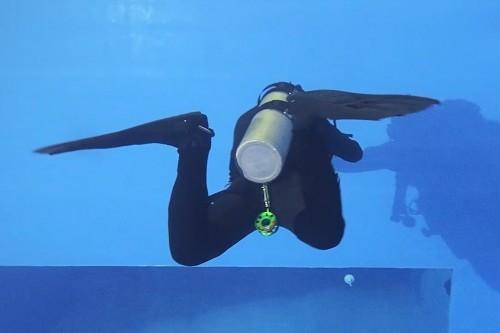 フィンの甲が水をつかめるように足首に角度をつけ、小指をあおる(回しながら引き上げる)イメージ