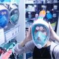 フルフェイスのスノーケリングマスク カブトムシみたいだな〜とずっと気になっていた商品なので早速装着