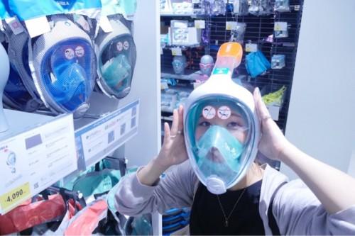 フルフェイスのスノーケリングマスク カブトムシみたいだな〜とずっと気になっていた商品なので早速装着。