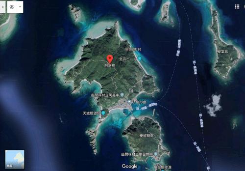 グーグルアースで見た阿嘉島