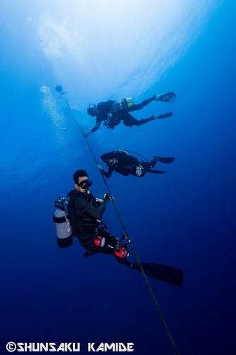 船体に取り付けられたブイのロープを伝って潜降していく