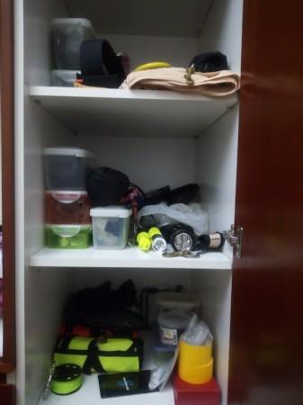 小物用器材棚。その日の海況やダイブポイントにあわせて器材を調整する(写真提供:NAGAEさん)