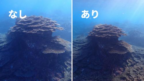 水中風景にもおすすめ。圧迫感のあったサンゴ礁が、水中で静かに佇む強さの表現に変わりました。