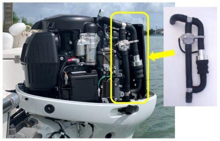 マイクロプラスチック回収装置を取り付けた船外機