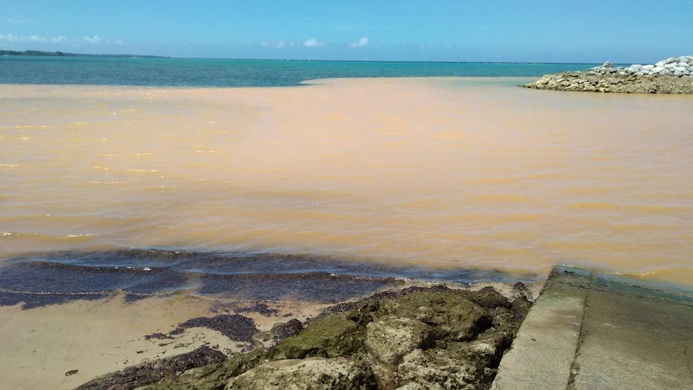 雨で陸から流出した赤土で濁った海(提供:恩納村役場)