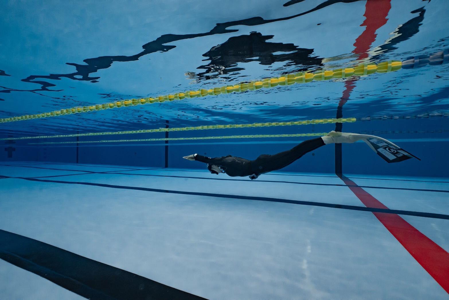 プールでの地道なトレーニングも続けていたphoto by 天井慎介